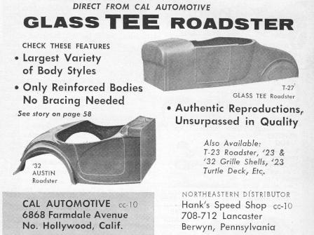 Cal Automotive Fiberglass Glass-Tee 27 T-Bucket and Austin Bantam