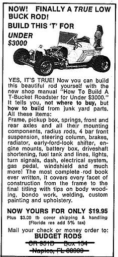 Original ad for How to Build a T-Bucket Roadster for Under $3000
