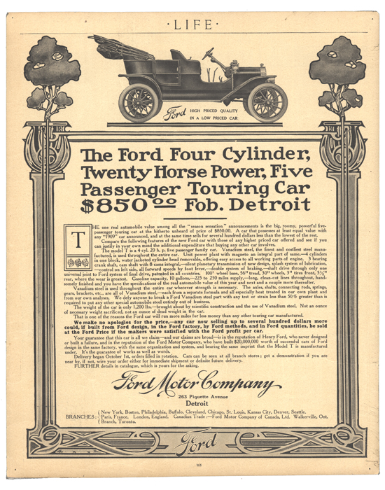 Model T Ford 1908 Life magazine ad