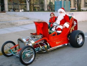 Hot Rod Santa and His T-Bucket Sleigh