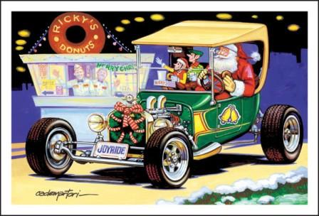 Santa Claus T-Bucket Hot Rod