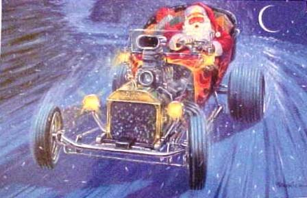 Santa Claus in a T-Bucket Hot Rod