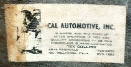 Cal Automotive Tex Collins Body Card