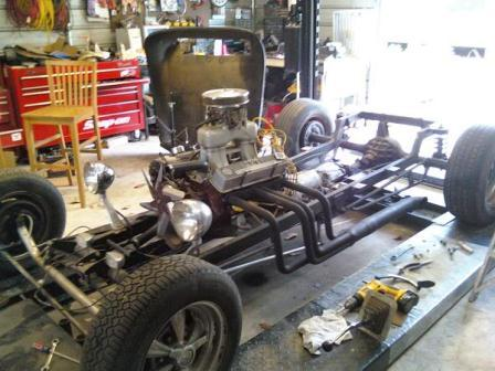 Steve's unfinished T-Bucket project makeover small block Chevy V8 in chassis