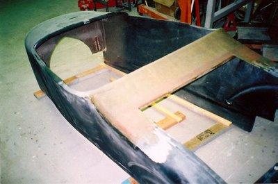1927 fiberglass t-bucket floor installation