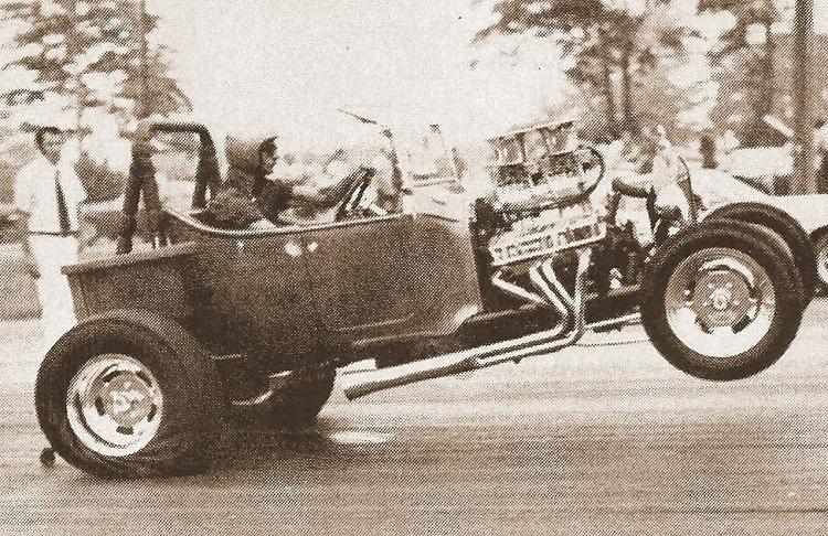 Frank Mazi wheelstanding T-Bucket