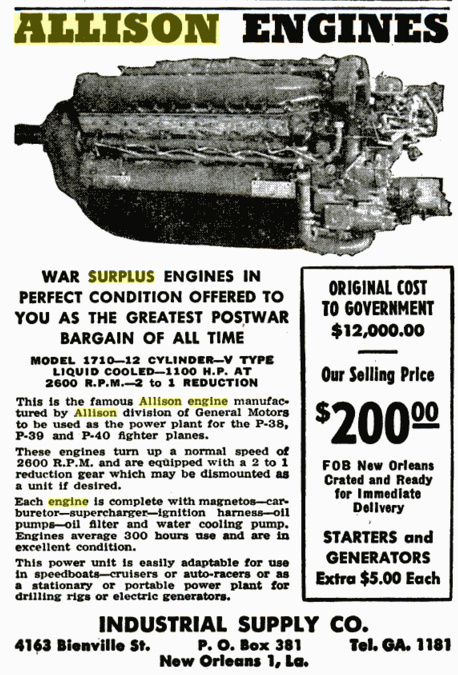 Allison V-12 Engine surplus ad