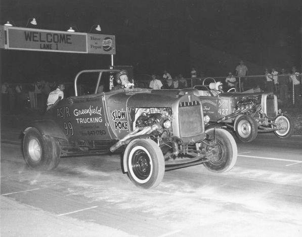 Nostalgia drag racing street roadster Yeiser Basham Greenfield Trucking