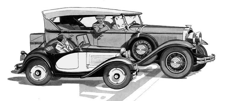 Austin Bantam roadster Buick touring car