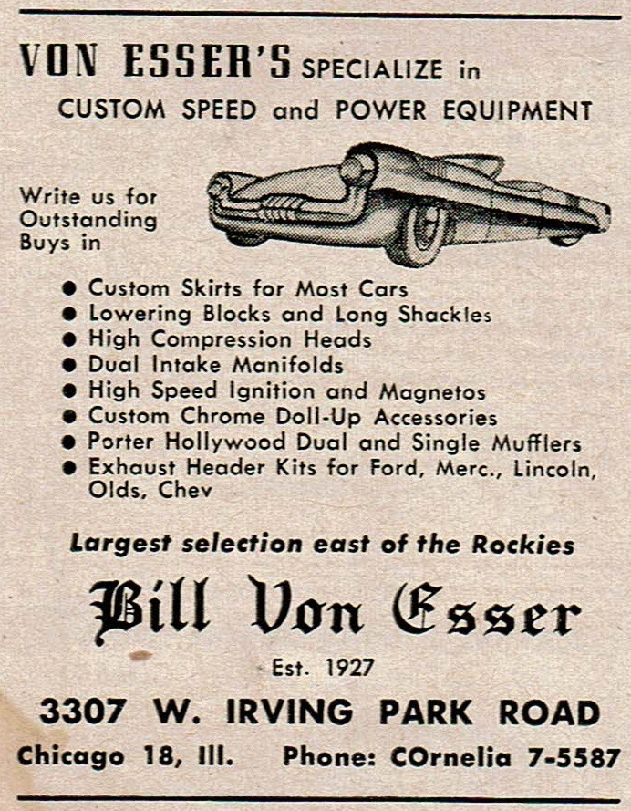 Bill Von Esser Speed Shop ad 1951 Hot Rod magazine